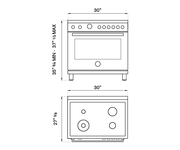 30 inch All Gas Range, 4 Brass Burner | Bertazzoni