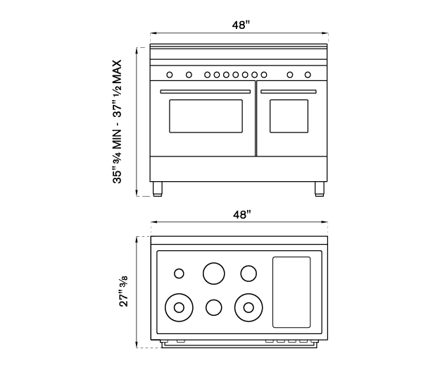 48 inch Dual Fuel Range, 6 brass burners and Griddle, Electric Self-Clean Oven | Bertazzoni