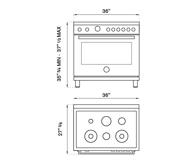 36 inch Dual Fuel Range, 6 Brass Burners, Electric Self-Clean Oven | Bertazzoni