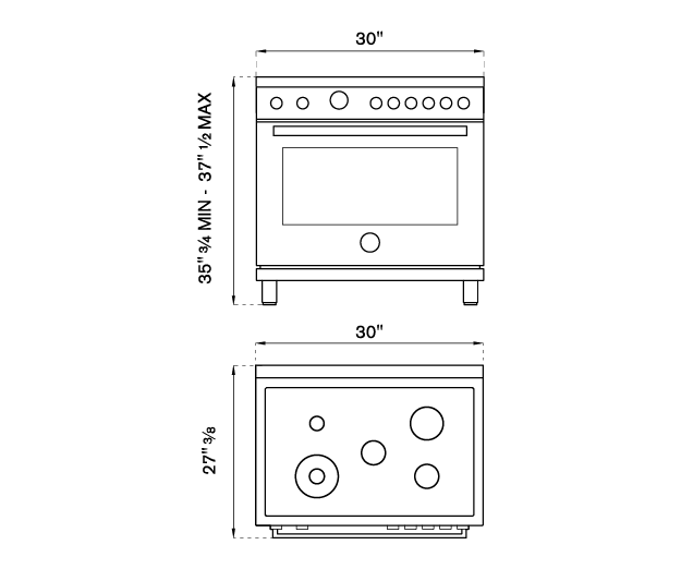 30 inch Dual Fuel, 5 Burners, Electric Oven | Bertazzoni