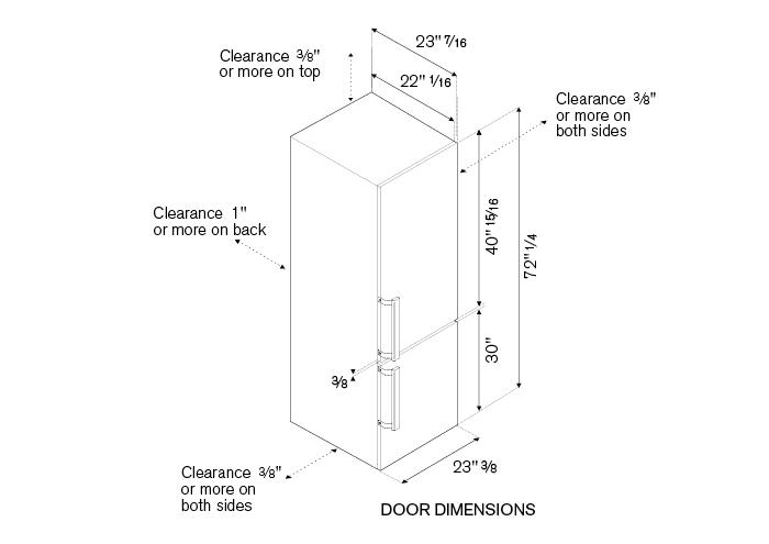 24 inch Freestanding Bottom Mount Refrigerator   Bertazzoni