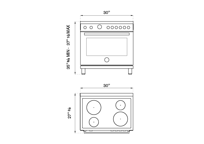 30 inch Electric Range, 4 Heating Zones, Electric Oven | Bertazzoni