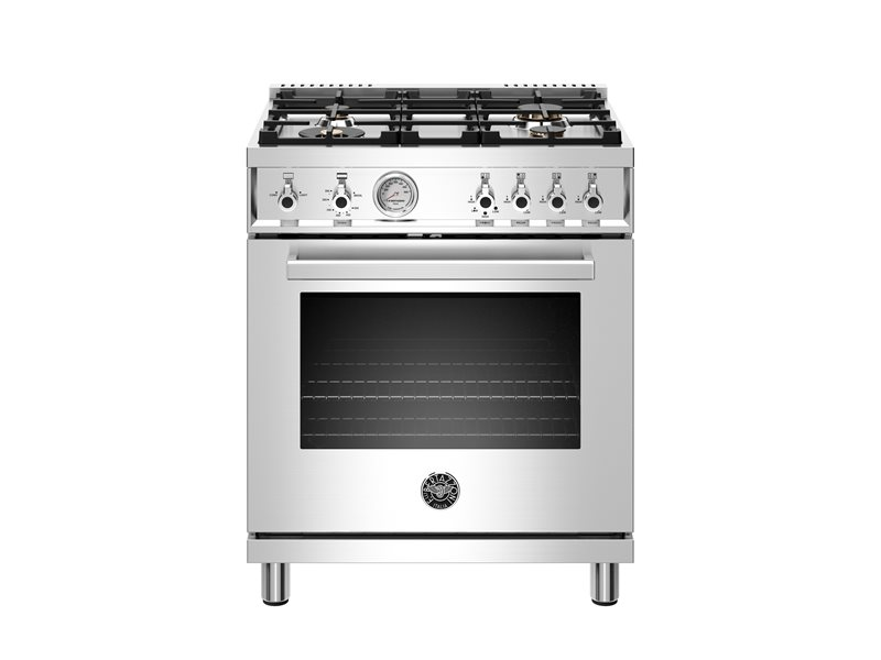30 inch All Gas Range, 4 Brass Burner | Bertazzoni - Stainless Steel