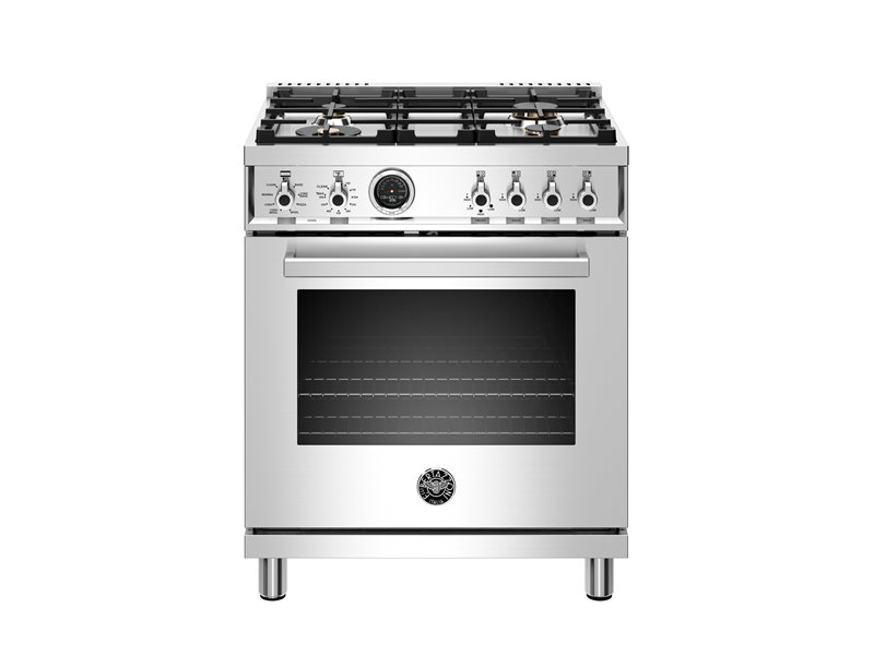 30 inch Dual Fuel Range, 4 Brass Burner, Electric Self-Clean Oven | Bertazzoni - Stainless Steel