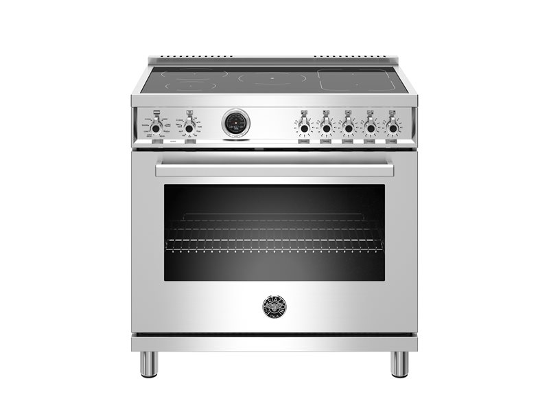 36 inch 5-Induction Zones, Electric Self-Clean oven | Bertazzoni - Stainless