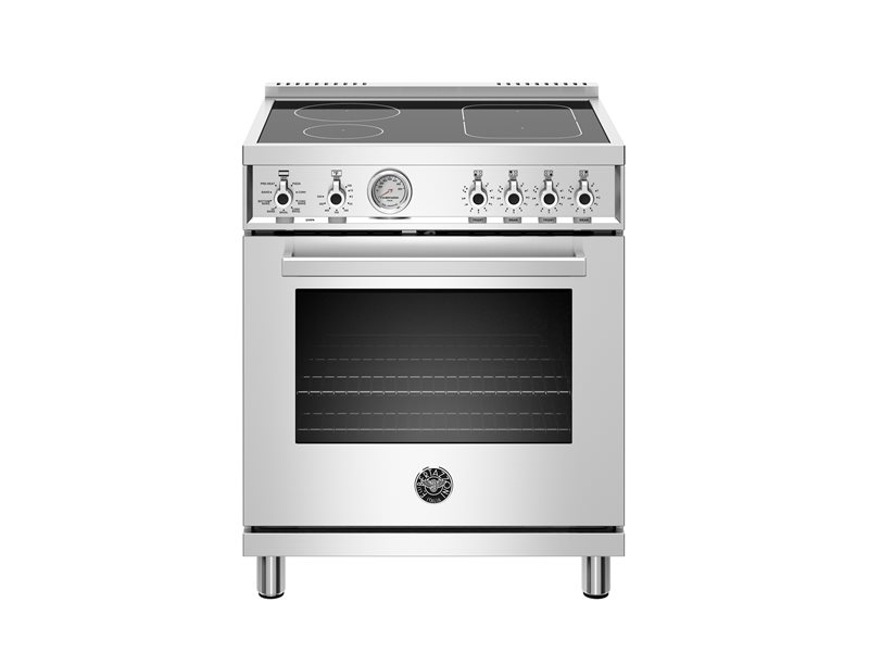 30 inch Induction Range, 4 Heating Zones, Electric Oven | Bertazzoni - Stainless Steel