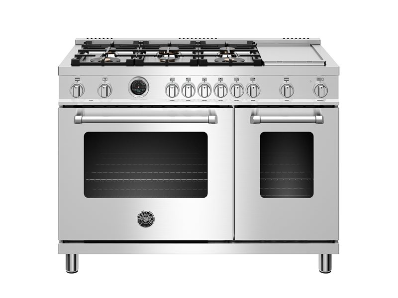 48 inch Dual Fuel Range, 6 brass burners and Griddle, Electric Self-Clean Oven | Bertazzoni - Stainless