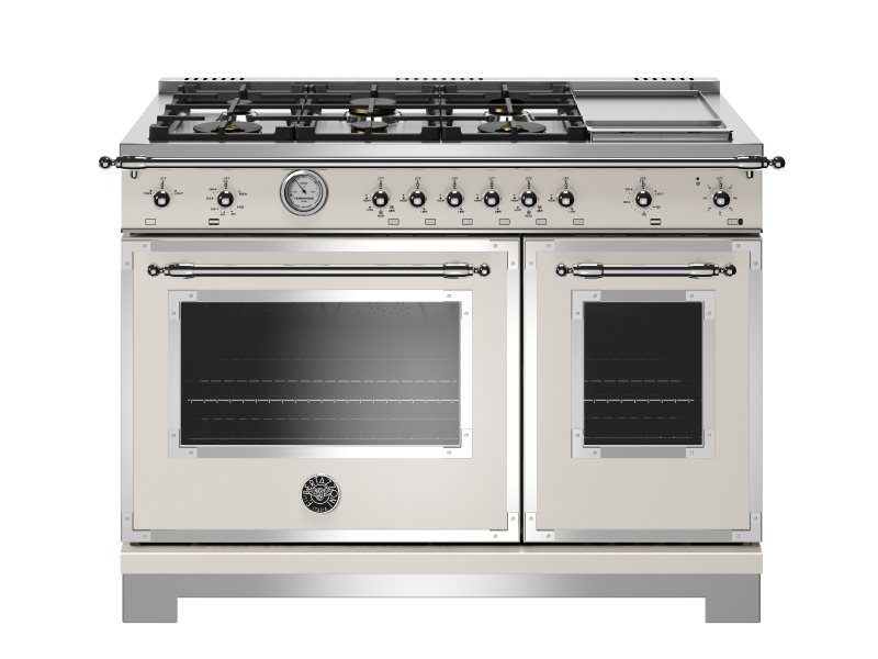 48 inch All-Gas Range 6 Brass Burner and Griddle | Bertazzoni - Ivory