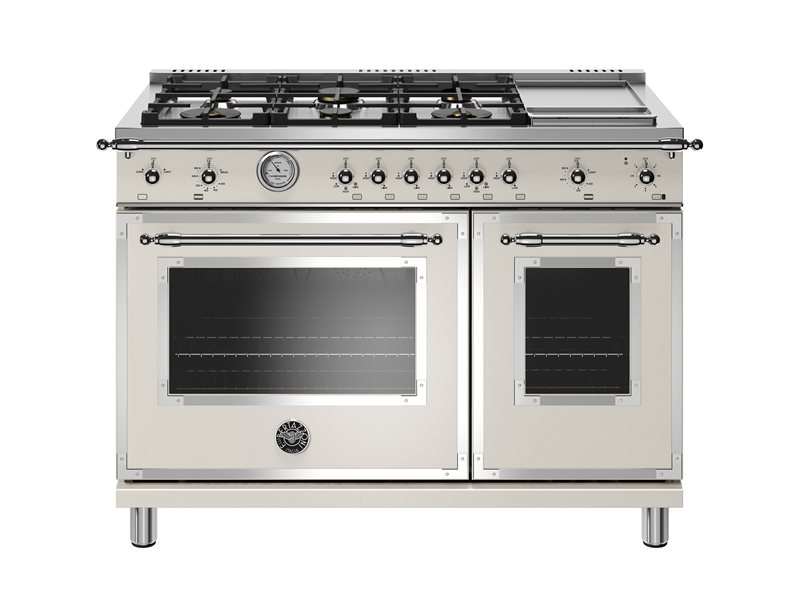 48 inch All-Gas Range 6 Brass Burner and Griddle | Bertazzoni - Avorio