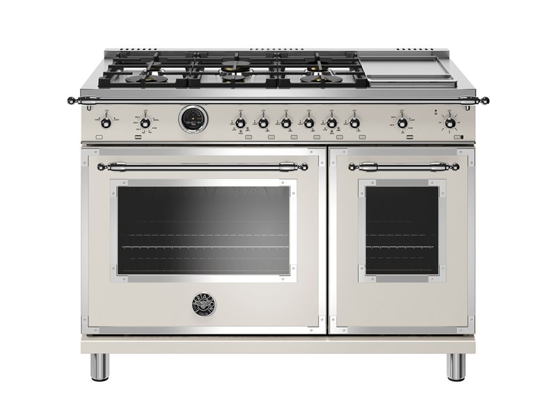48 inch Dual Fuel Range, 6 Brass Burners and Griddle, Electric Self Clean Oven | Bertazzoni - Avorio