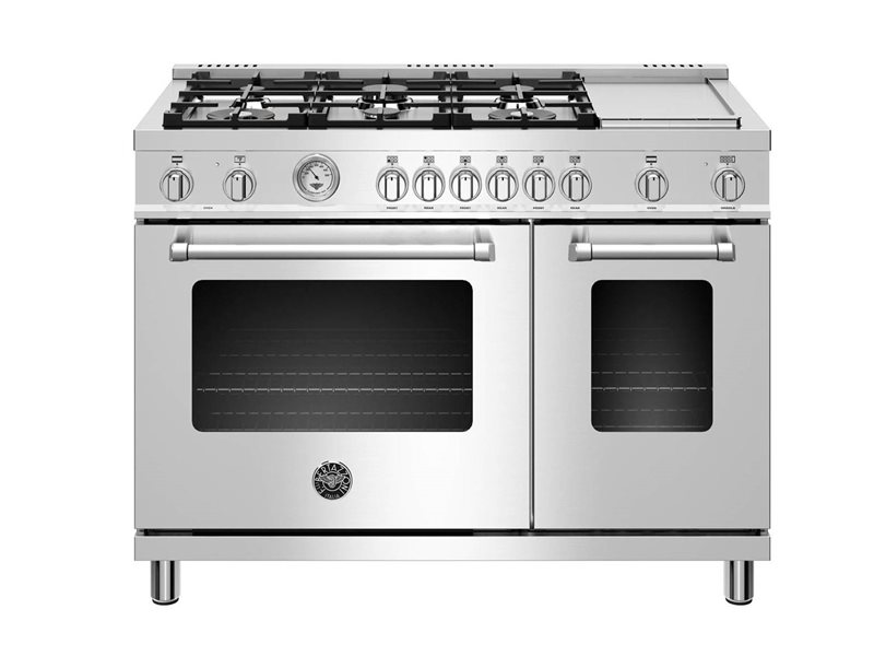 48 inch Dual Fuel Range, 6 burners and Griddle, Electric Oven | Bertazzoni - Stainless Steel