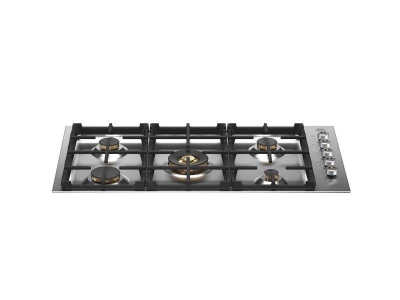 36 Drop-in Gas Cooktop 5 brass burners | Bertazzoni - Stainless Steel