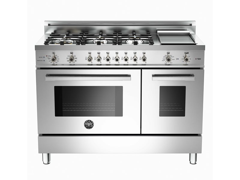 48 6burner griddle electric selfclean double oven bertazzoni - Gas Range Double Oven