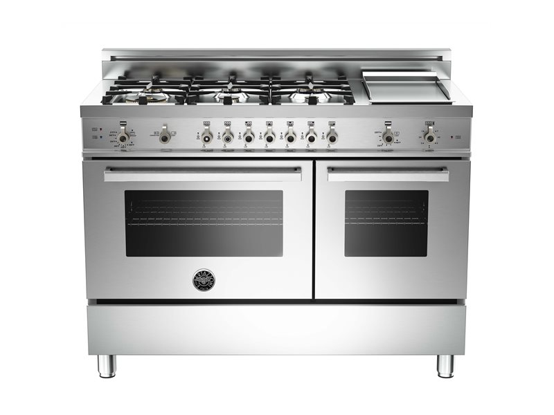 48 6-Burner + Griddle, Gas Double Oven | Bertazzoni - Stainless