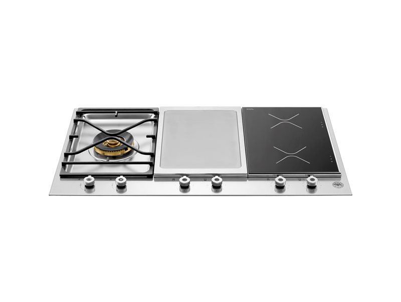 36 Segmented Cooktop 1-burner, 2 induction zones and griddle | Bertazzoni - Stainless Steel