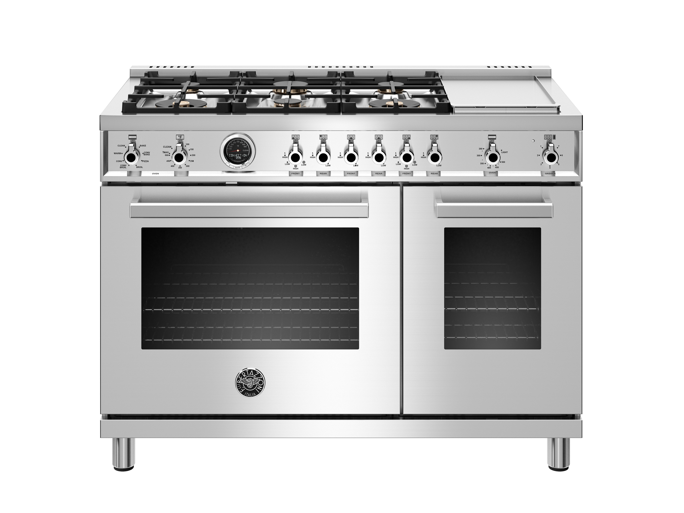 48 Inch Dual Fuel Range 6 Brass Burners And Griddle