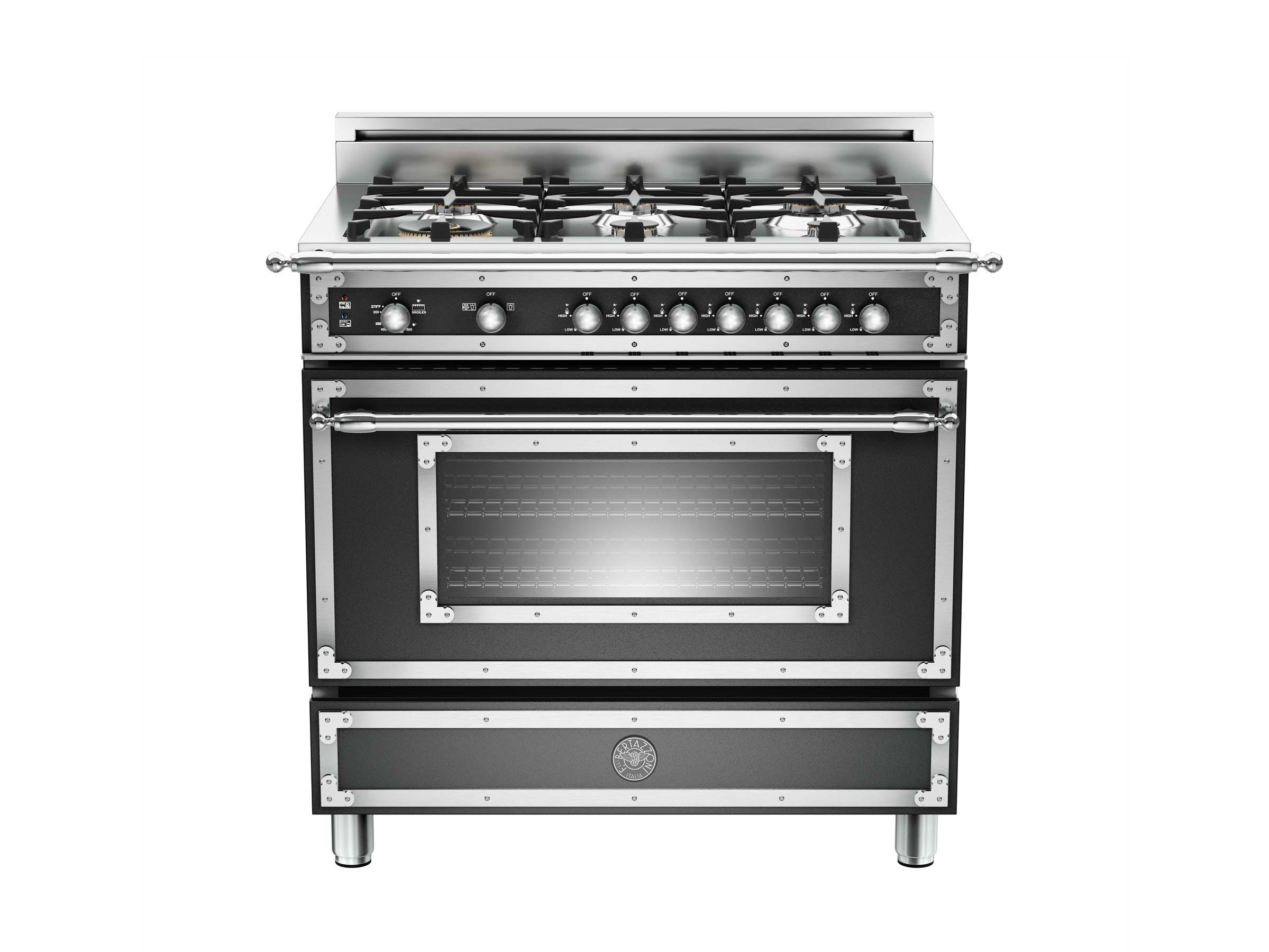 36 inch 6-Burner, Gas Oven | Bertazzoni - Matt Black