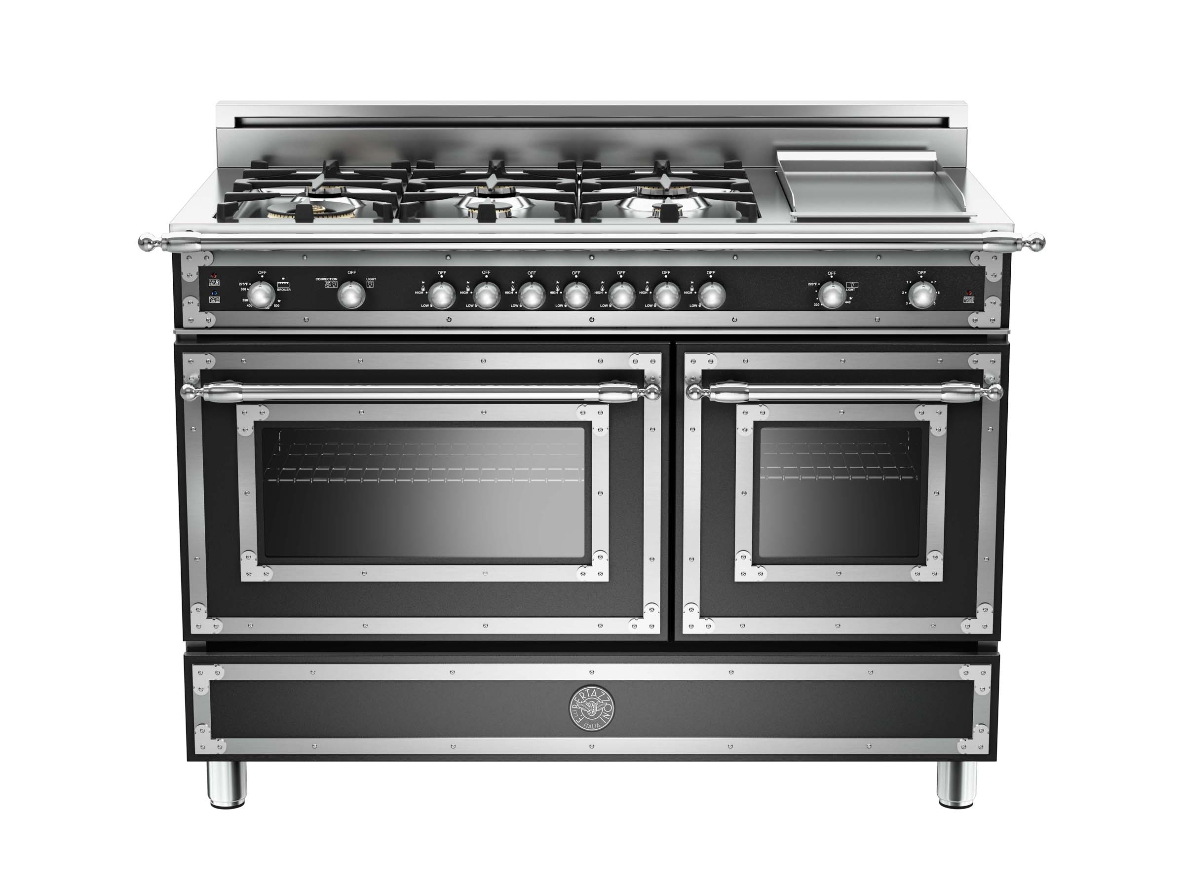 48 6-Burner + Griddle, Gas Double Oven | Bertazzoni - Matt Black