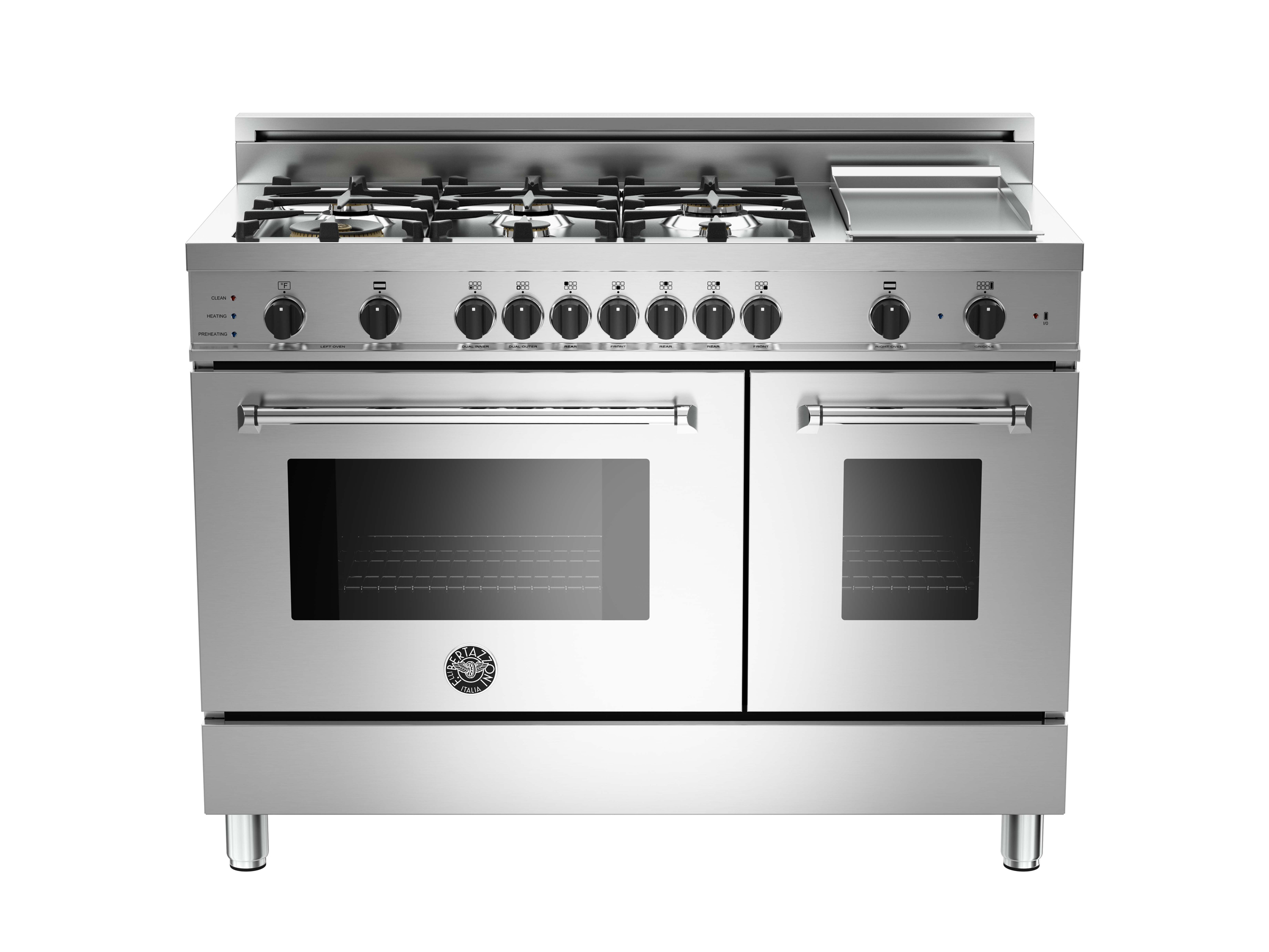 48 6-Burner+Griddle, Electric Self-Clean Double oven | Bertazzoni - Stainless