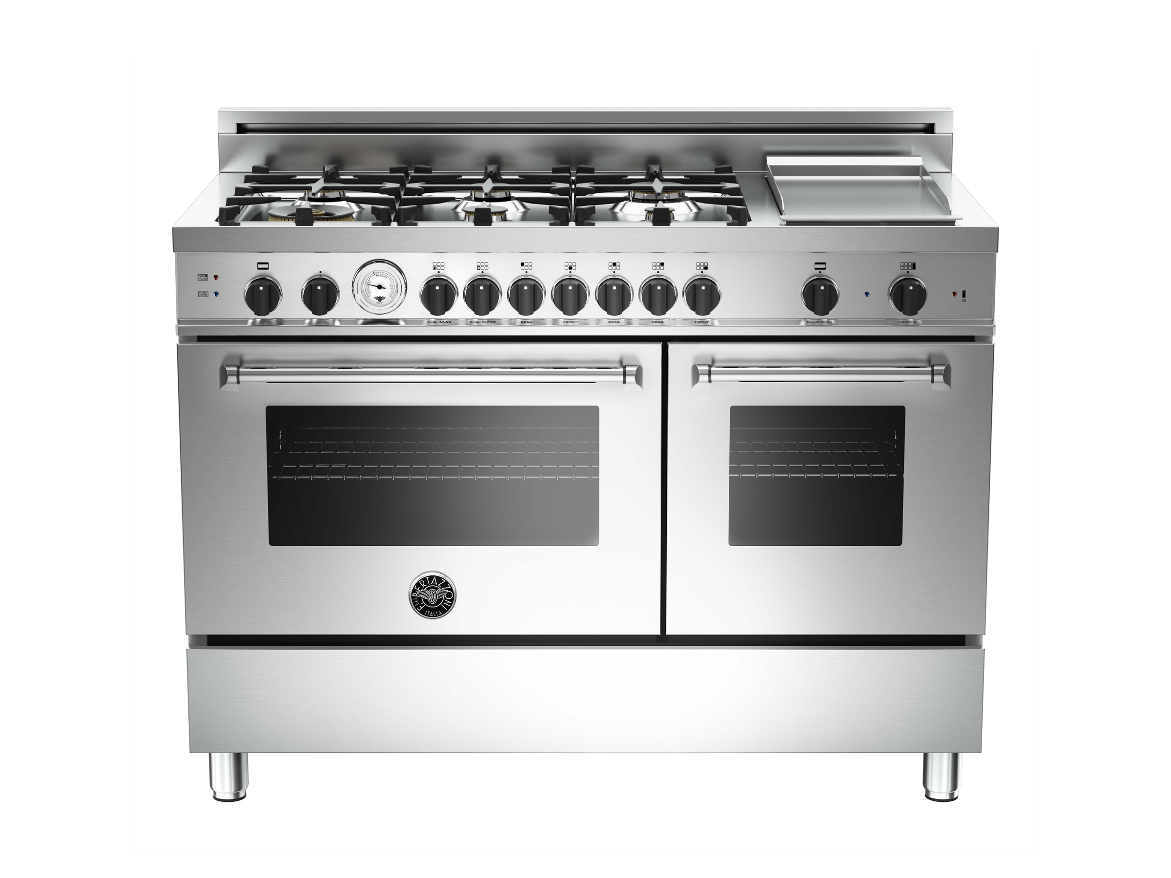 48 6burner griddle gas double oven bertazzoni stainless