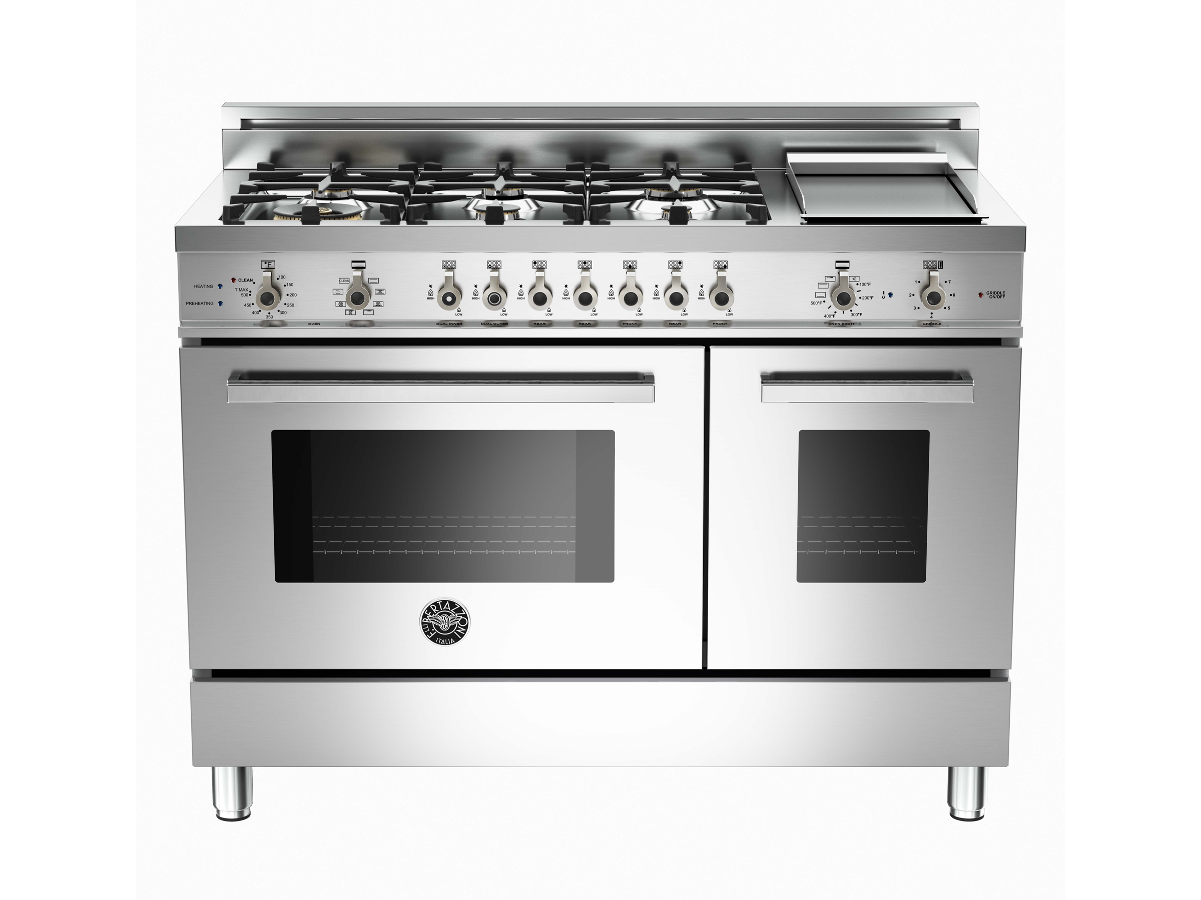 48 6 Burner + Griddle, Electric Self Clean Double Oven | Bertazzoni