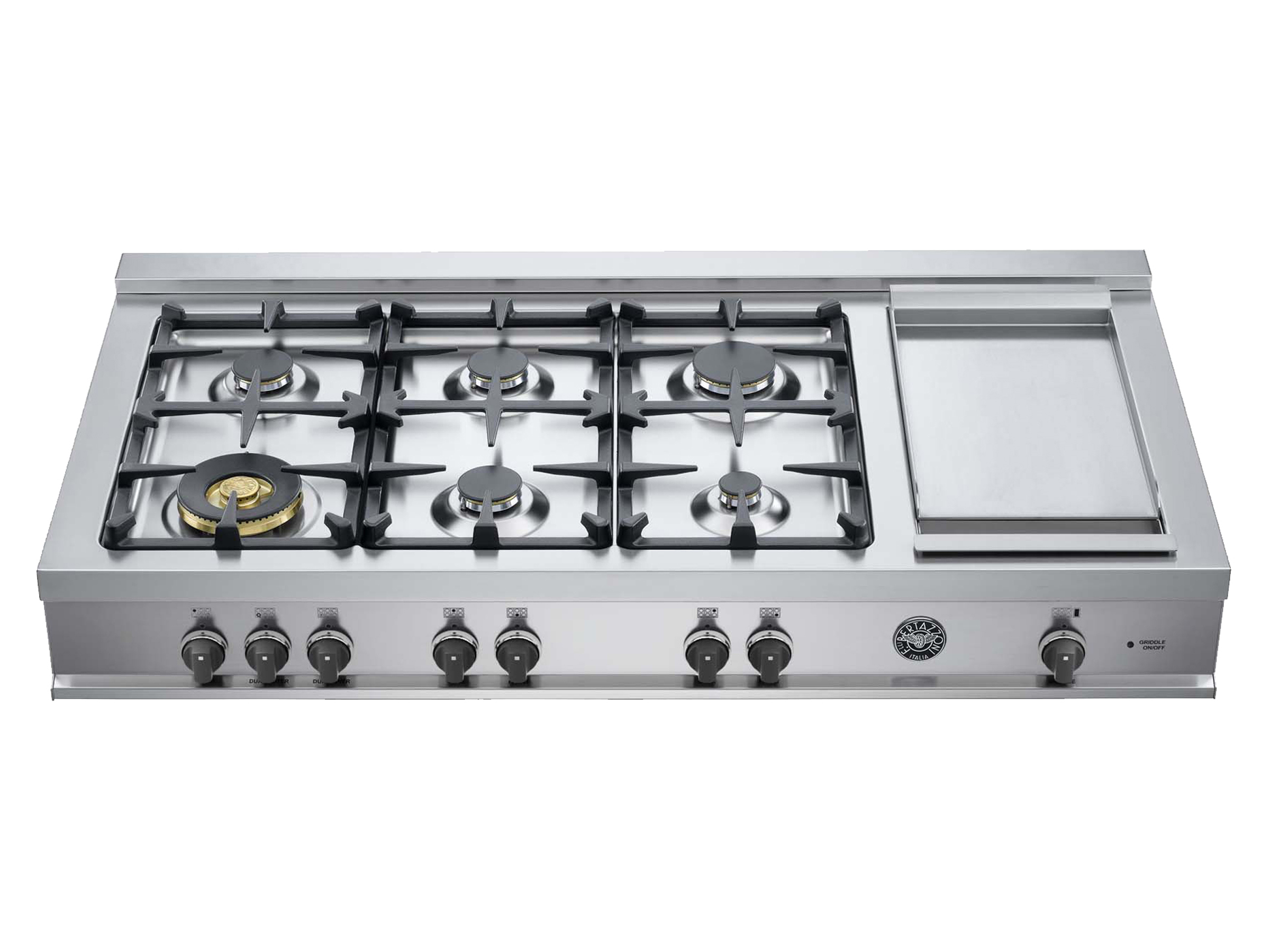 48 Rangetop 6 Burners and Griddle | Bertazzoni - Stainless